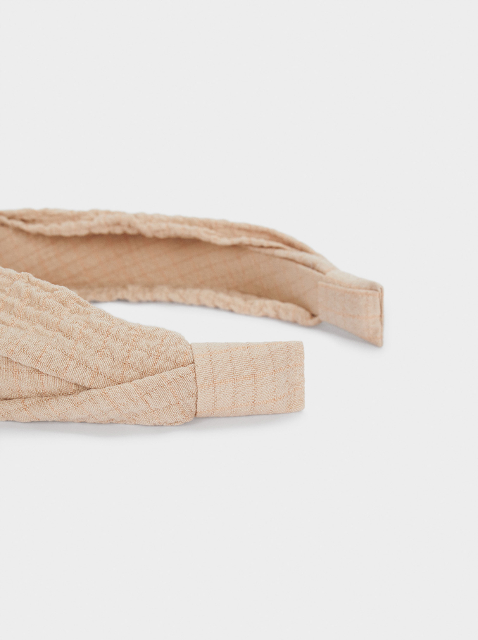 Wide Headband With Knot, Pink, hi-res