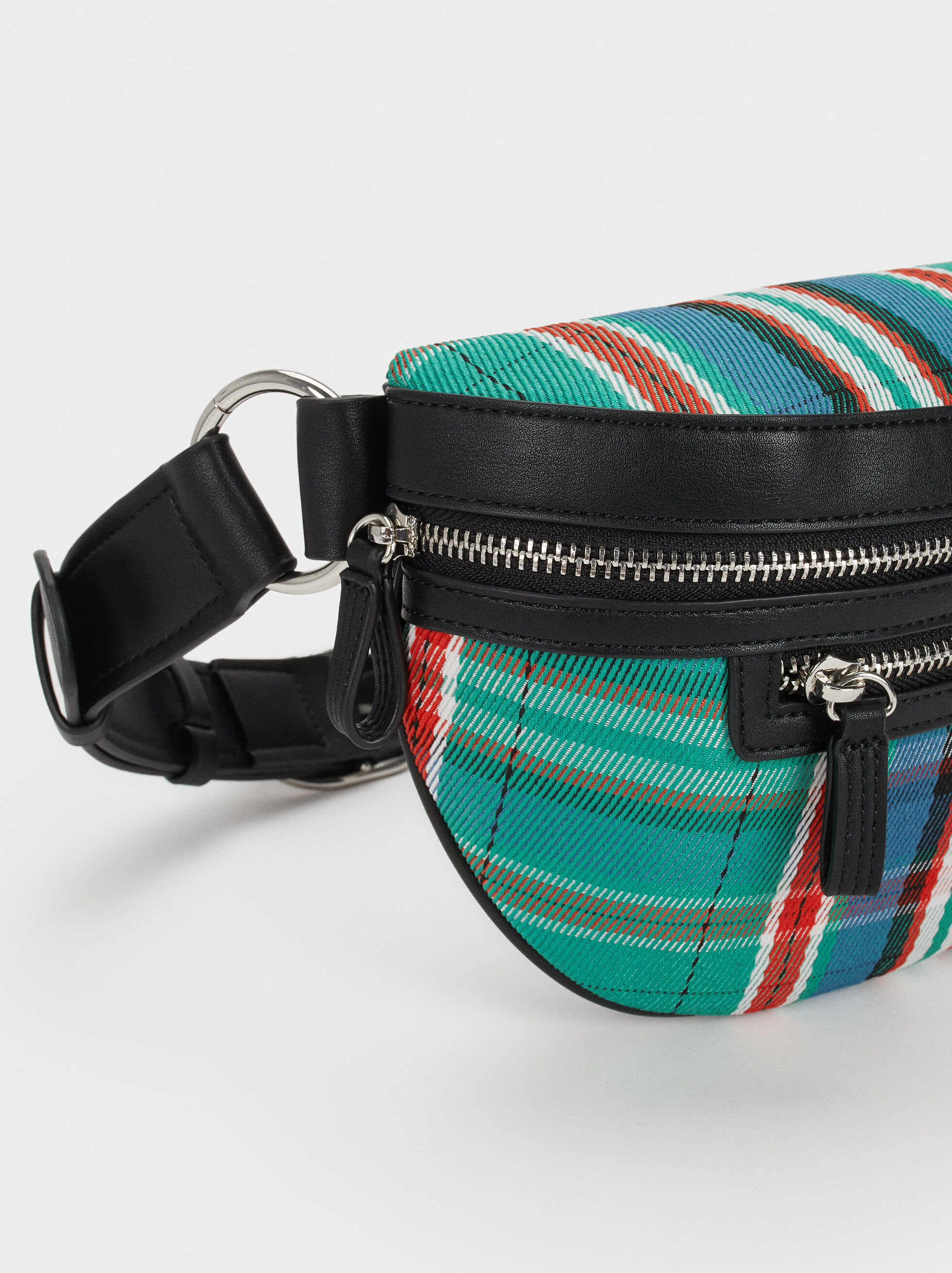 Check Belt Bag, Green, hi-res