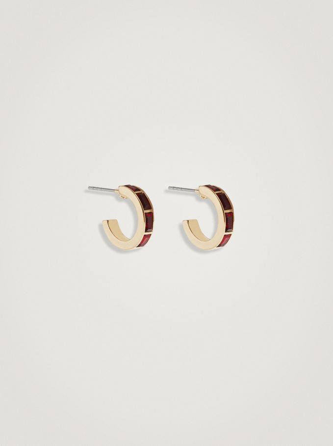 Short Combined Hoop Earrings, Bordeaux, hi-res