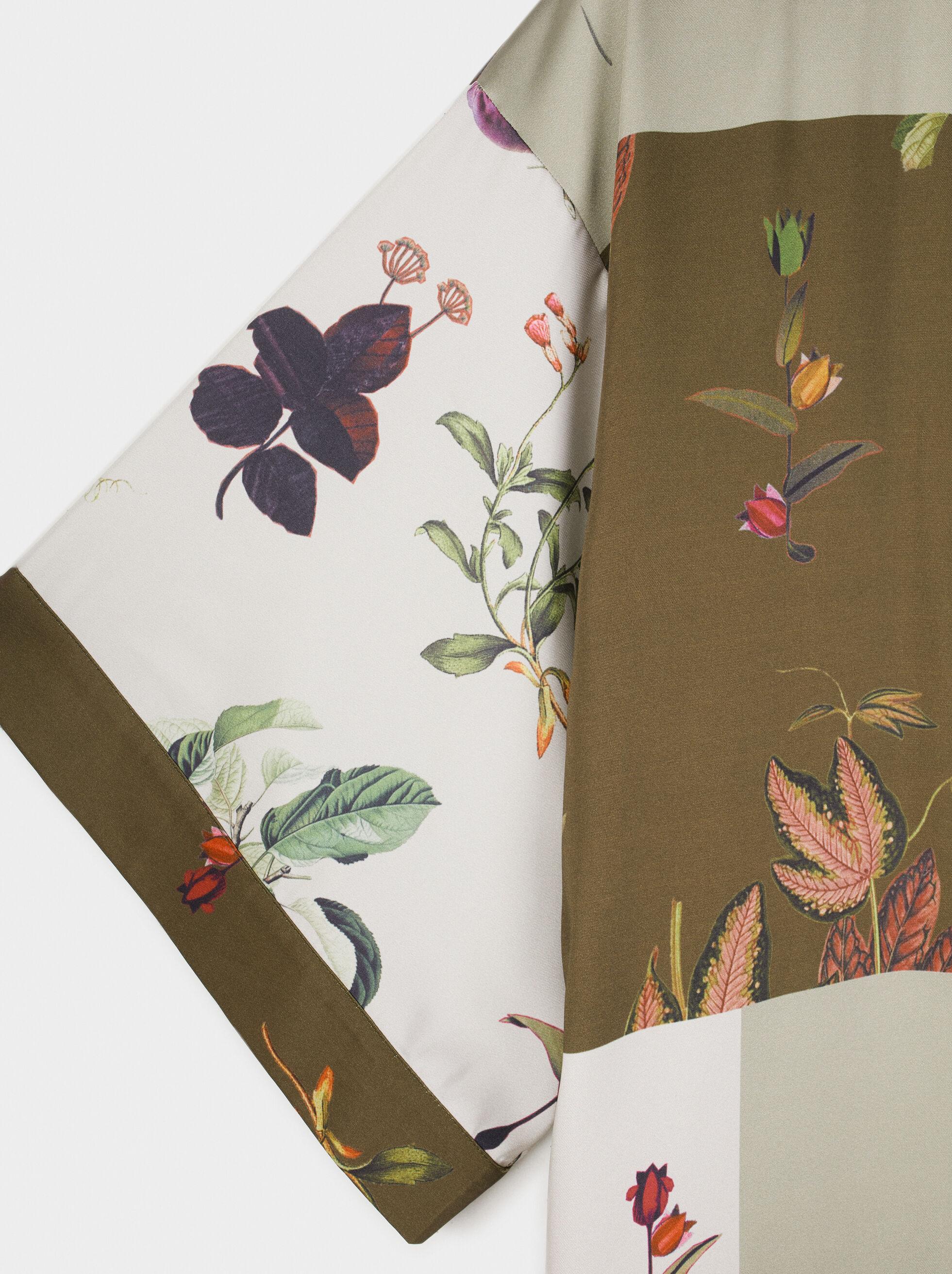 Floral Print Kimono, Khaki, hi-res