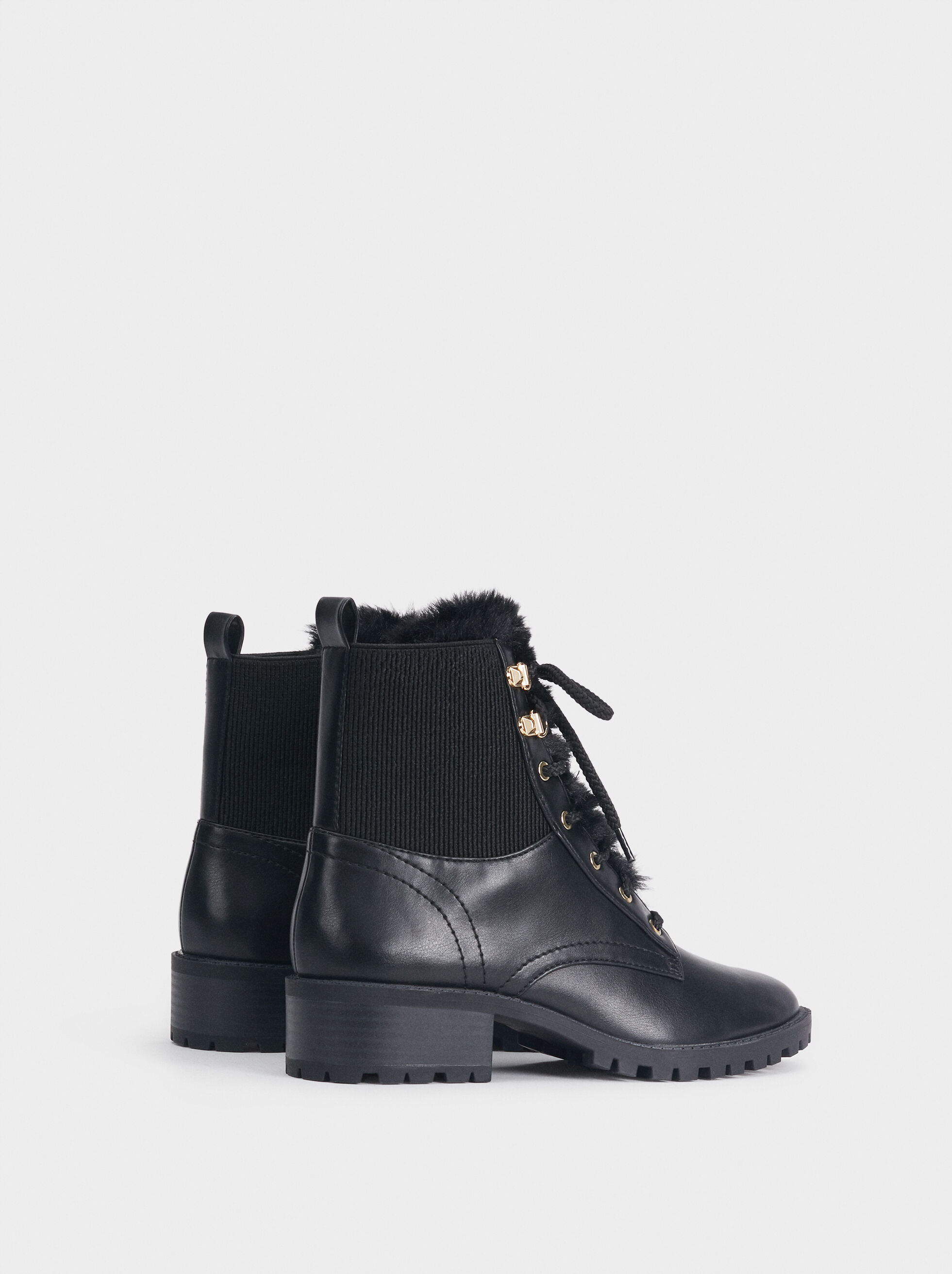 Fur Detail Ankle Boots, Black, hi-res
