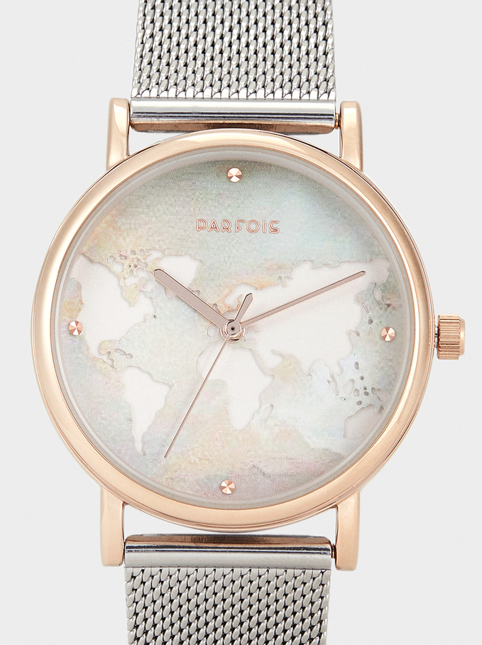 Watch With World Map Face, Silver, hi-res