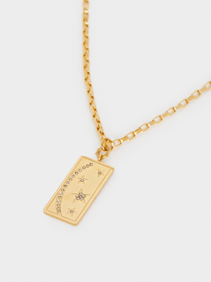 Short Steel Necklace With Stars, Golden, hi-res