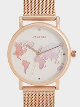 Watch With World Map Dial Illustration, Orange, hi-res
