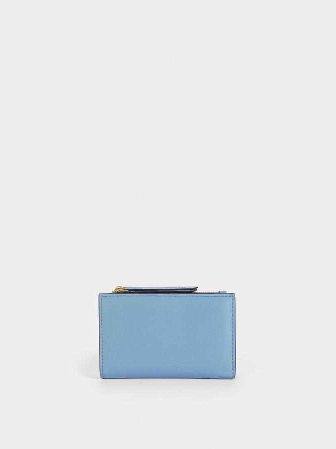 Plain Card Holder Purse, Blue, hi-res