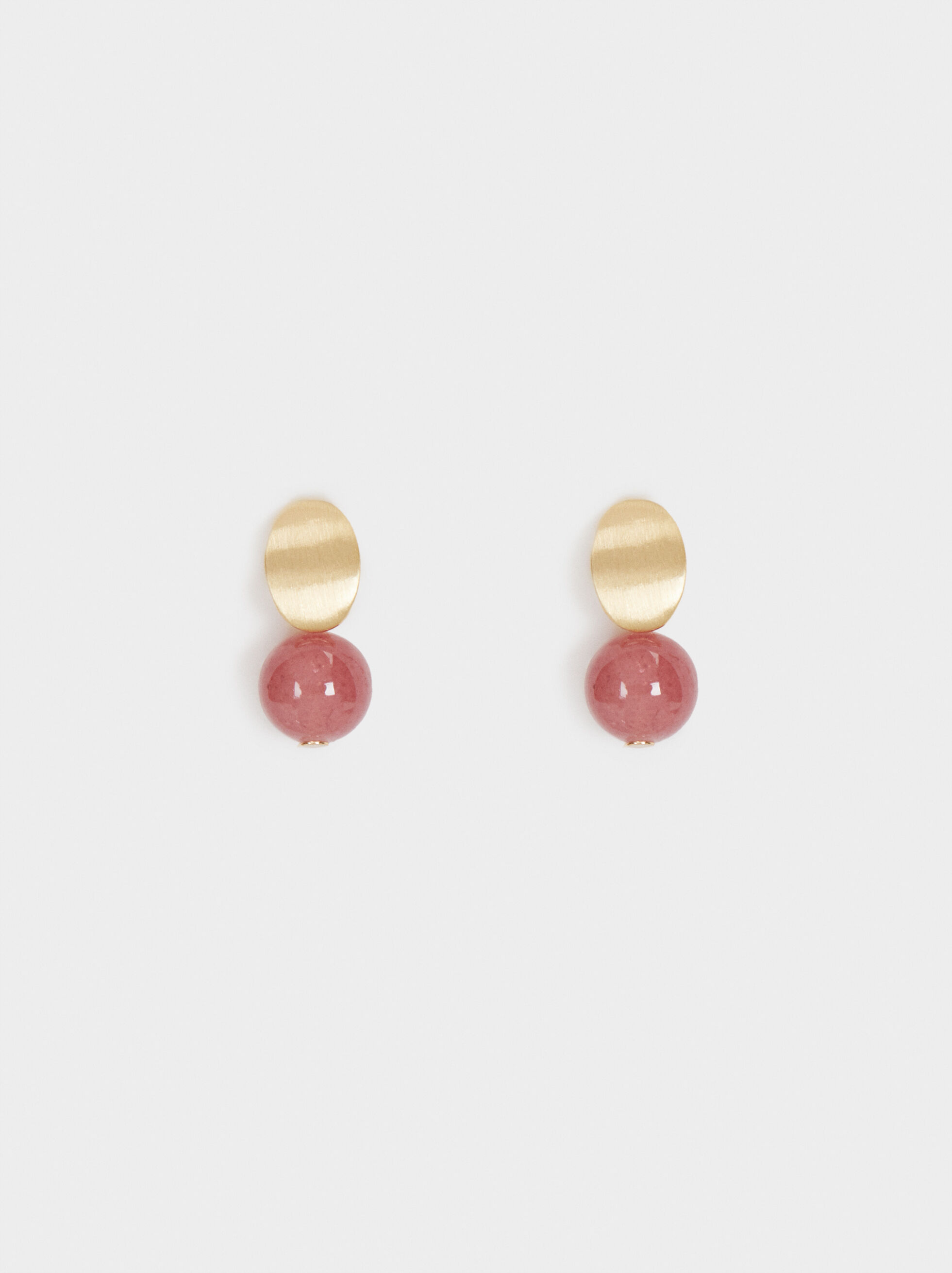 Petrified Stud Earrings, Pink, hi-res