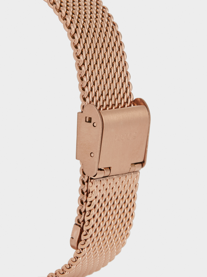 Digital Watch With Metallic Mesh Strap, Orange, hi-res