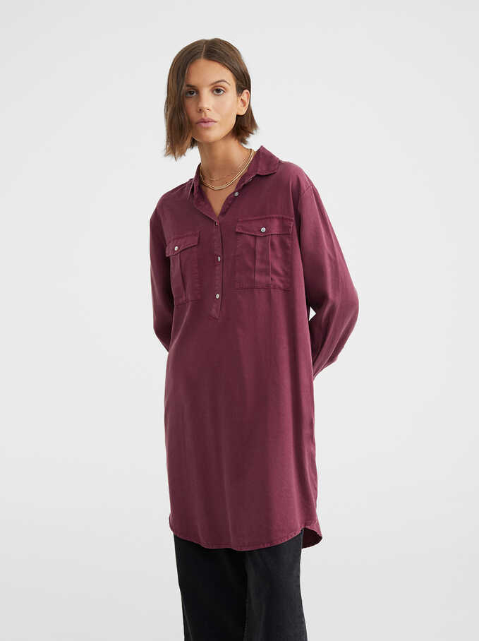 Flowing Shirt Dress, Bordeaux, hi-res