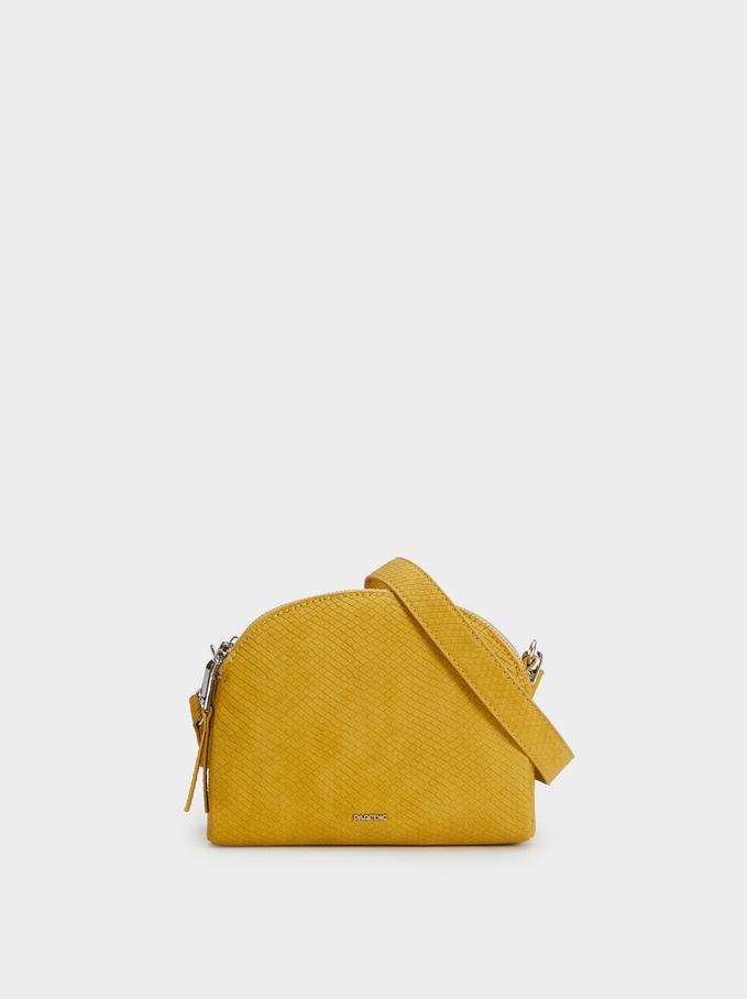 Embossed Faux Suede Crossbody Bag, Yellow, hi-res