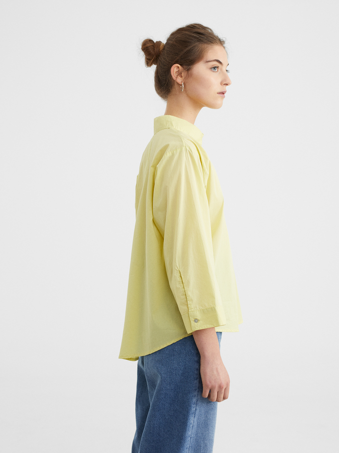 Oversized Shirt With Pocket, Yellow, hi-res