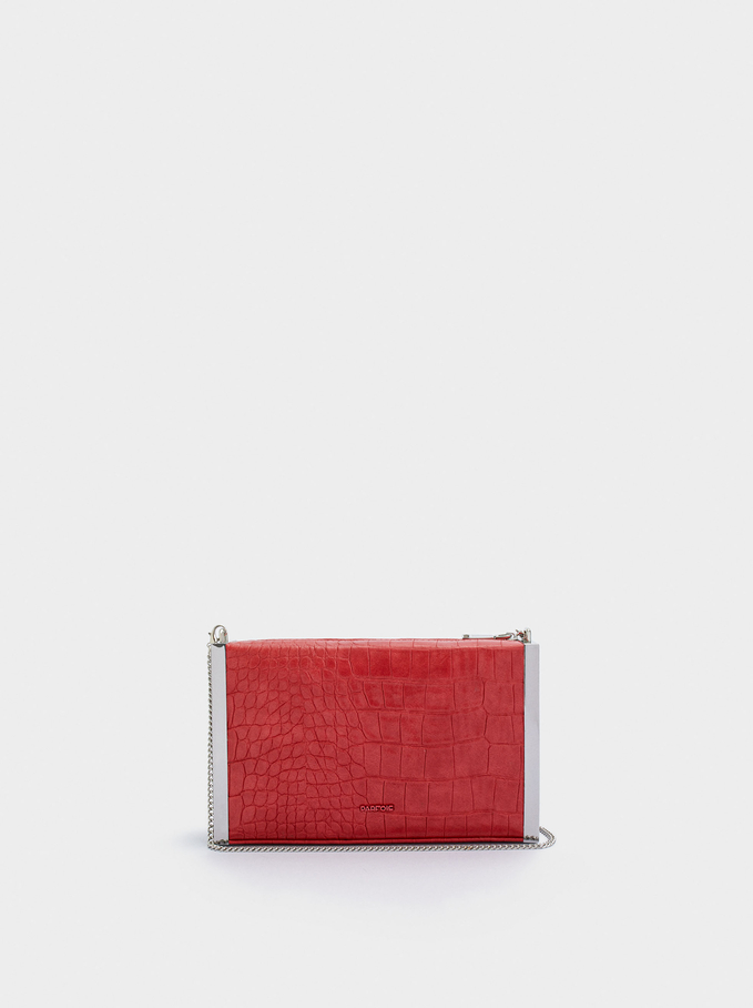 Embossed Animal Party Clutch, Red, hi-res