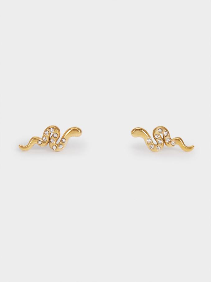 Short Stainless Steel Snake Earrings, Golden, hi-res