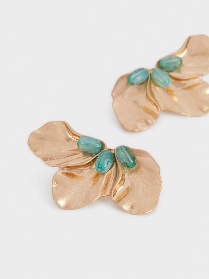 Flower Earrings With Crystals, Green, hi-res