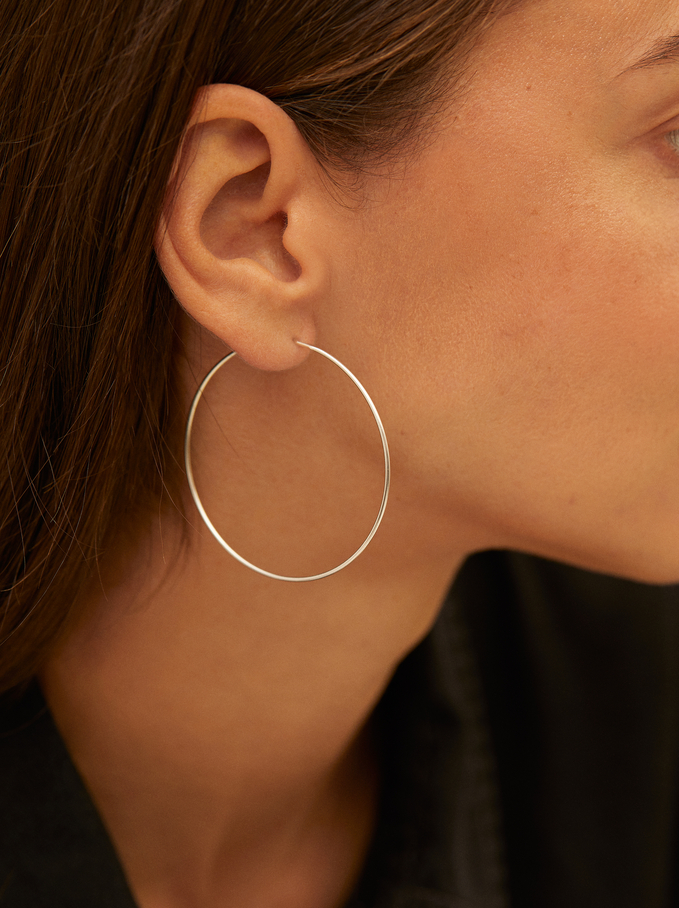 Silver Hoop Earrings, Silver, hi-res