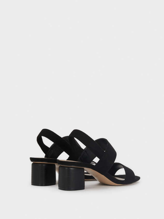 Mid-Heel Sandals With Elasticated Straps, Black, hi-res
