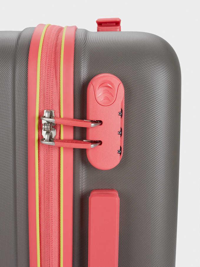 Suitcase With Zip Fastening, Brown, hi-res