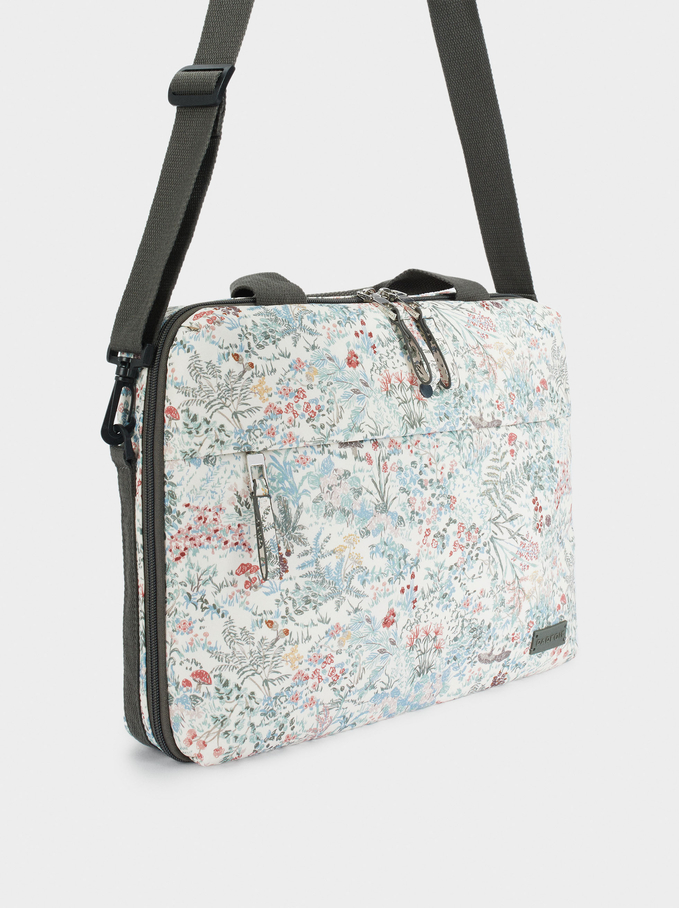 """Printed Briefcase For 13"""" Laptop, White, hi-res"""