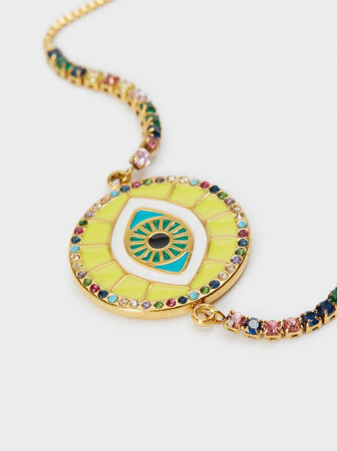 Gold Stainless Steel Adjustable Bracelet With Eye Detail, Multicolor, hi-res