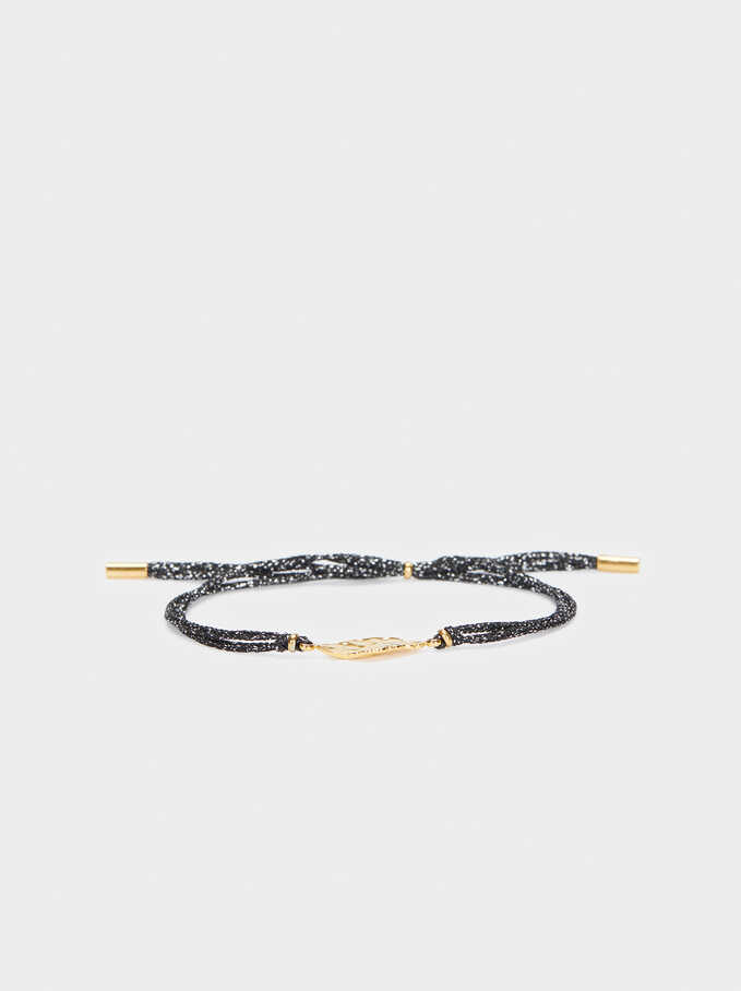 Steel Adjustable Bracelet, Black, hi-res