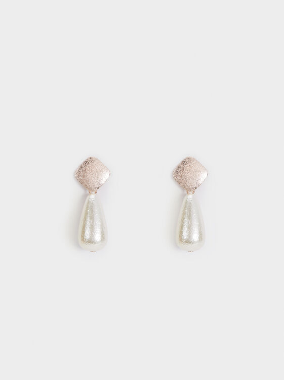 Pink Desert Two-Tone Long Earrings, Orange, hi-res