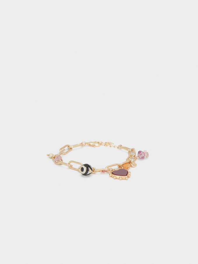 Multicoloured Stones And Charms Bracelet, Multicolor, hi-res
