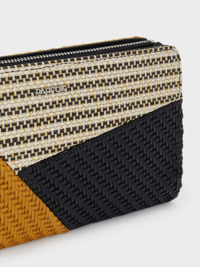 Braided Patchwork Design Long Purse, Black, hi-res