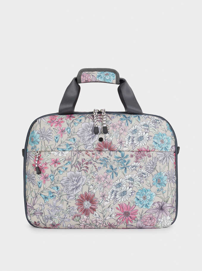 Floral Print Nylon Briefcase, Brown, hi-res