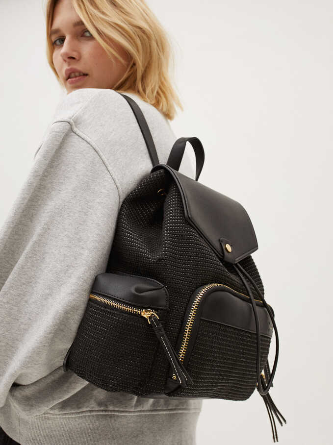 Combined Backpack With Exterior Pockets, Black, hi-res