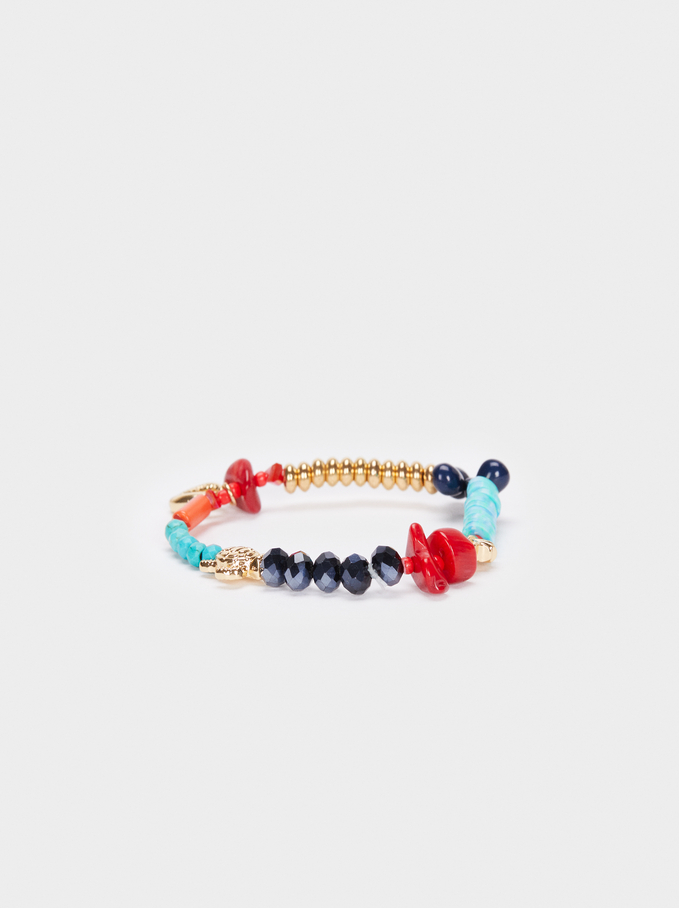 Elastic Bracelet With Stones And Beads, Multicolor, hi-res