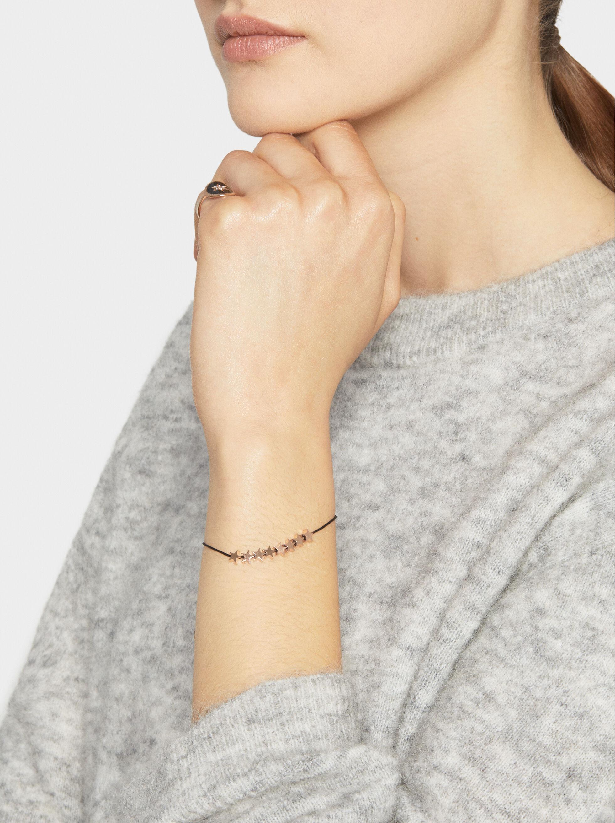 Adjustable Steel Bracelet With Stars, Orange, hi-res