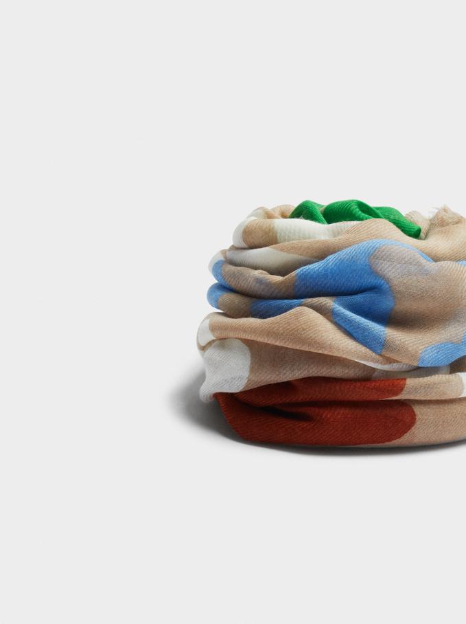 Pañuelo Estampado Fabricado Con Materiales Reciclados, Beige, hi-res