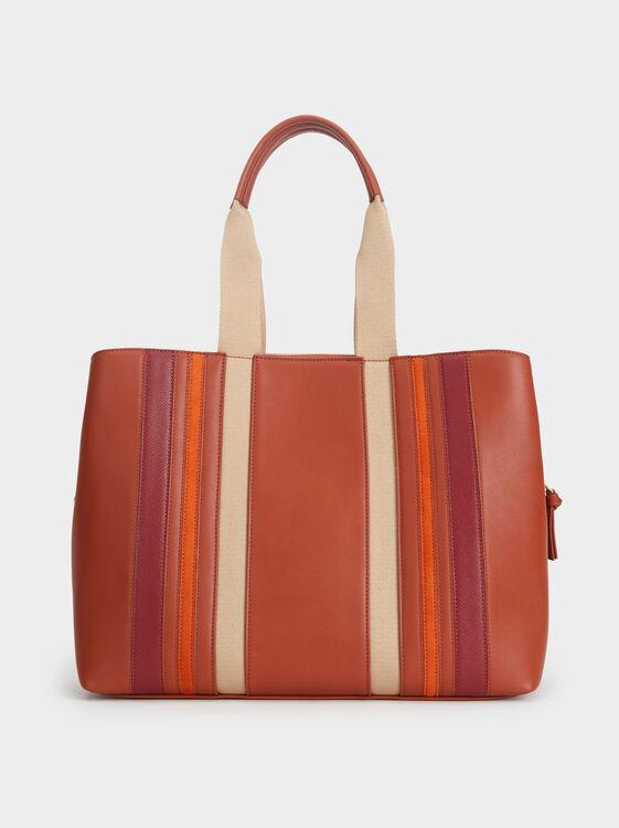Patchwork Tote Bag, Brick Red, hi-res