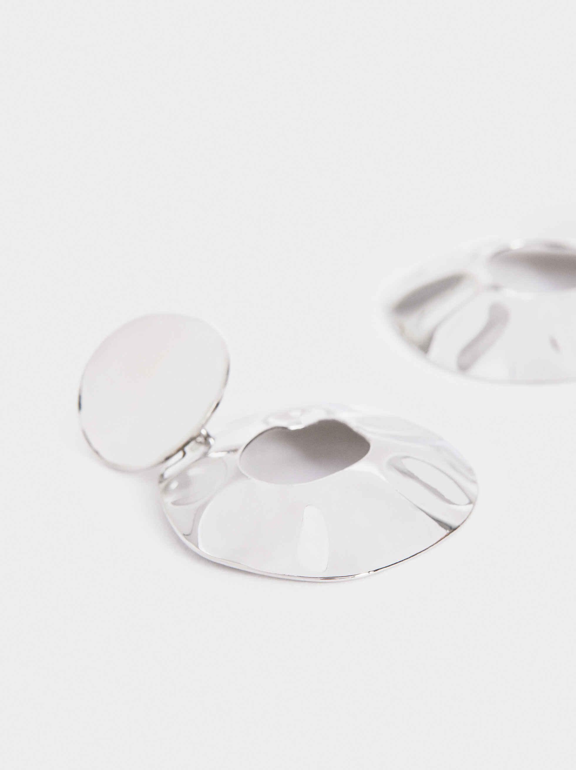 Irregular Medium Earrings, Silver, hi-res