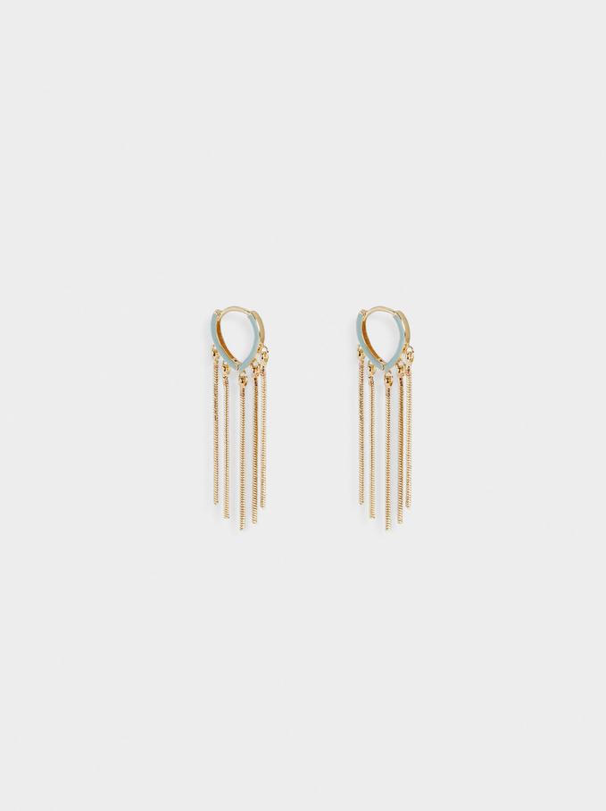 Hoop Earrings With Pendants, Green, hi-res