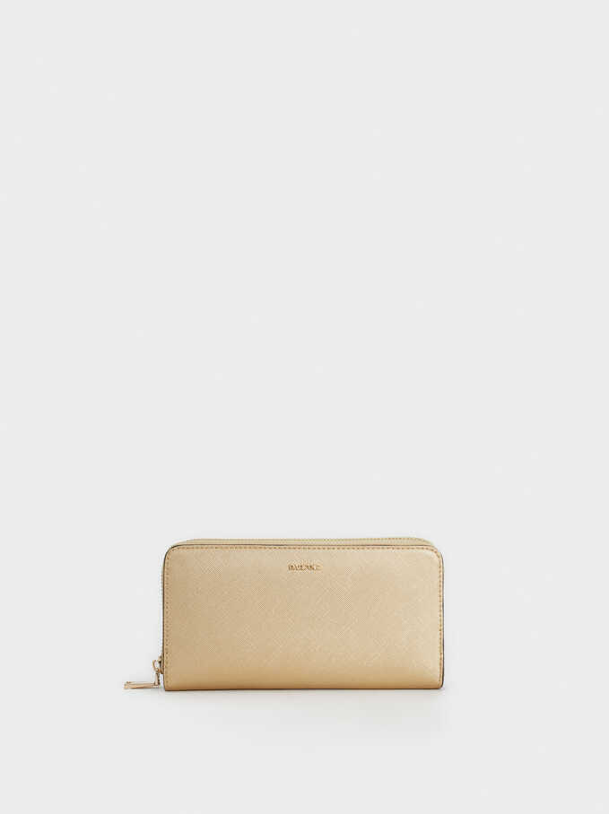 Long Zip-Up Purse, Golden, hi-res