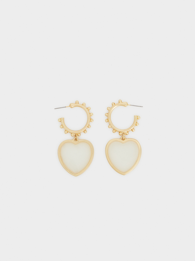 Bubbles Medium Hoop Earrings, Beige, hi-res