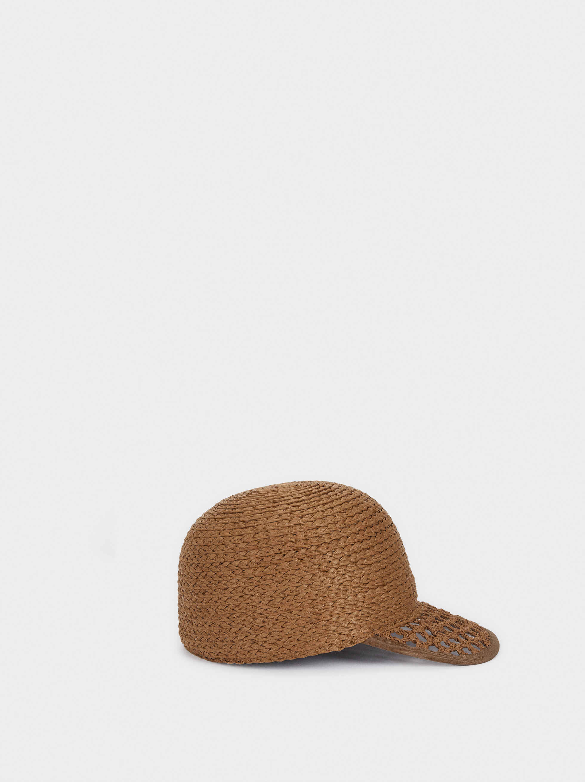 Straw Cap With Braided Peak, Khaki, hi-res