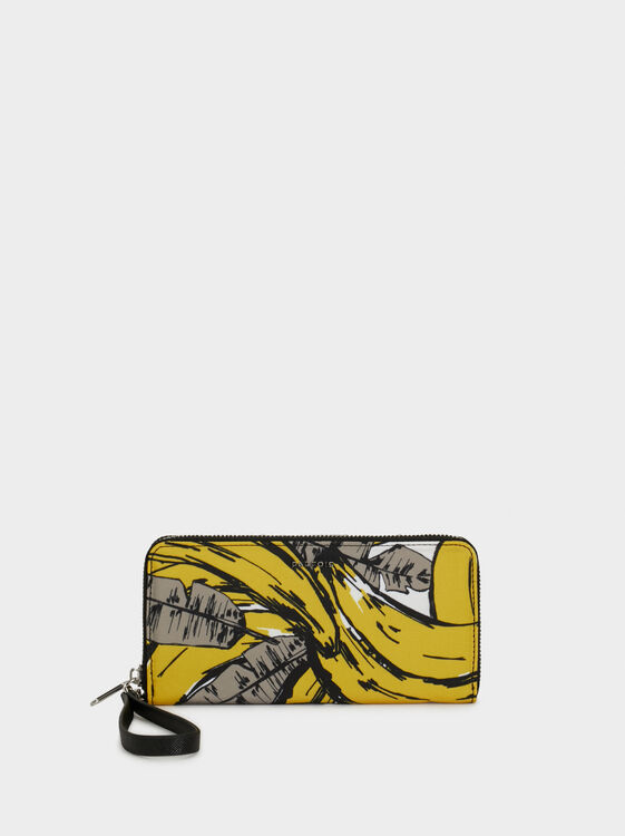 Printed Nylon Purse, Yellow, hi-res
