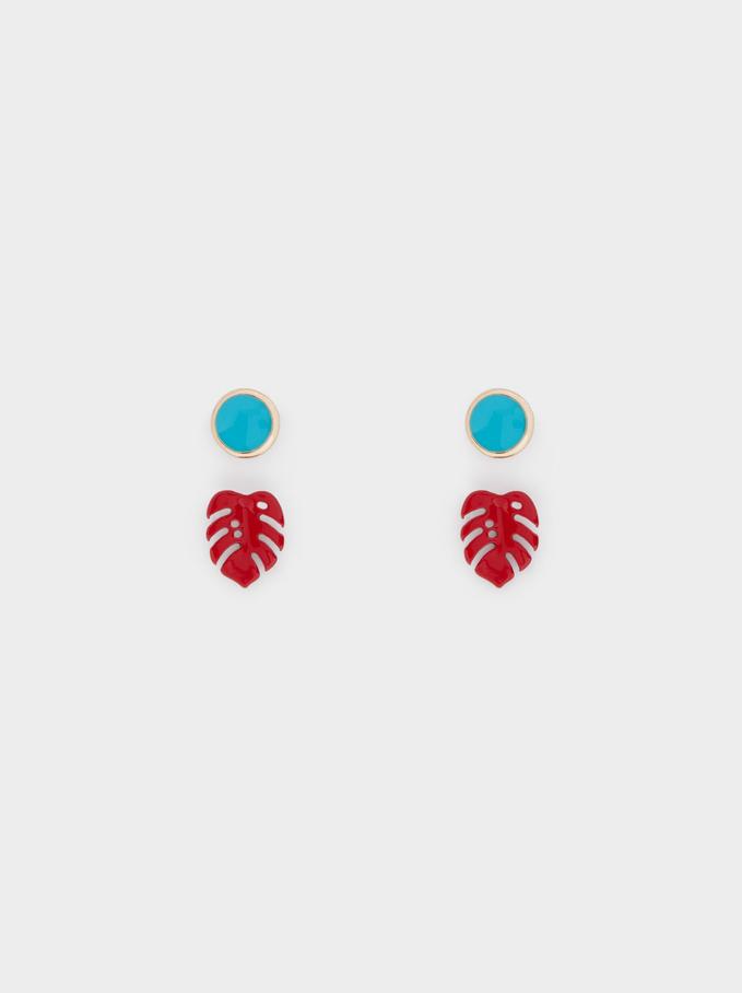 Leaf Earring Set, Golden, hi-res