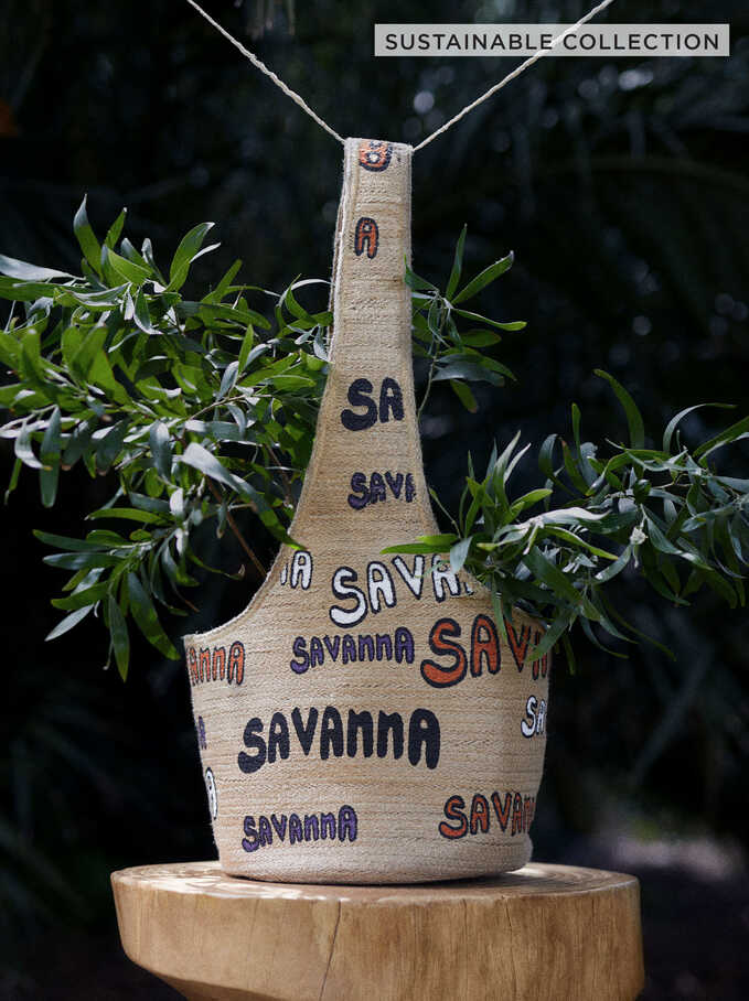 Jute Savanna Shoulder Bag, Beige, hi-res