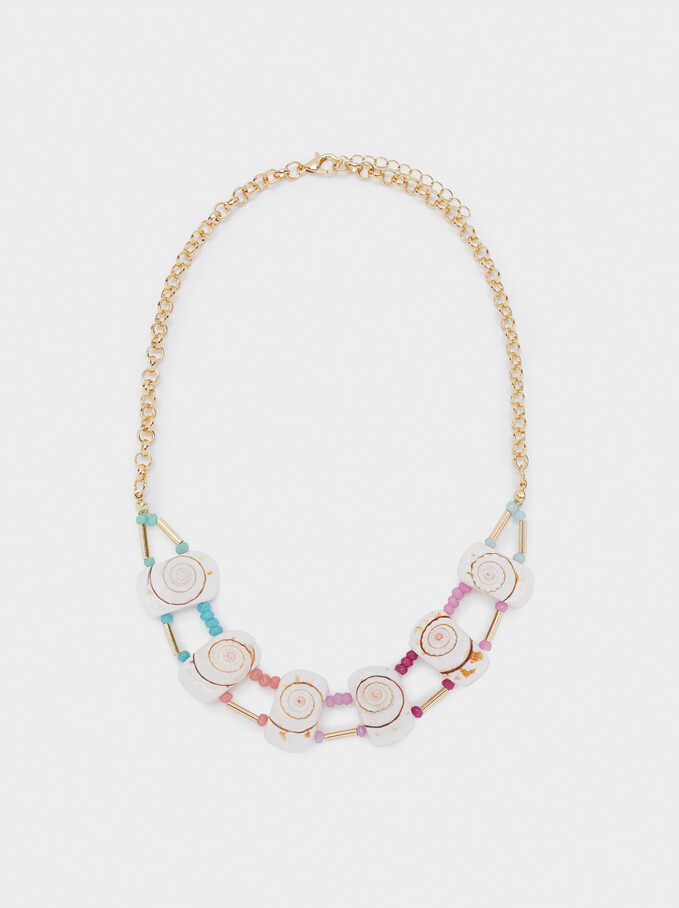 Short Necklace With Shell And Beads, Multicolor, hi-res