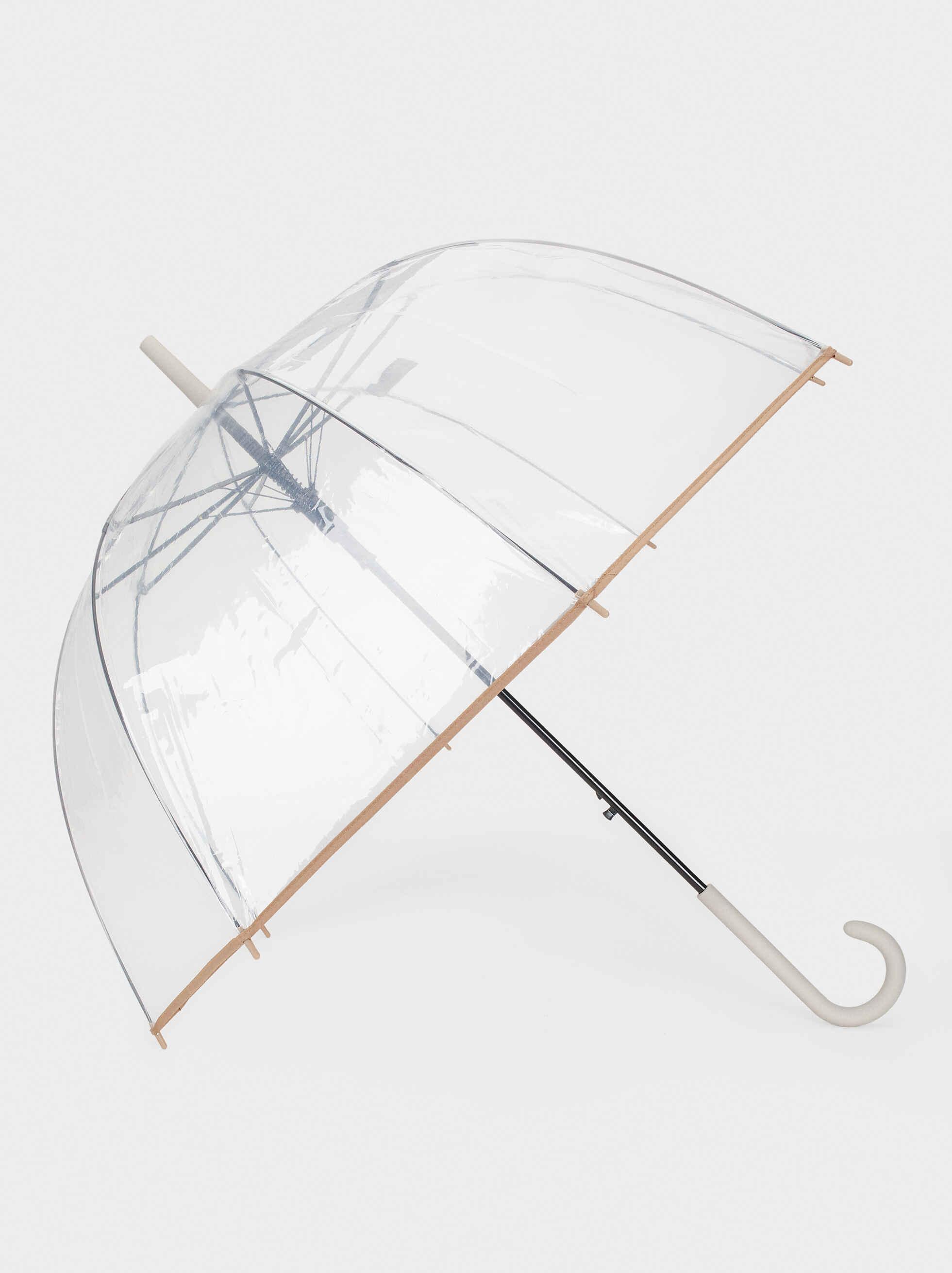 Paraguas Grande Transparente, Gris, hi-res