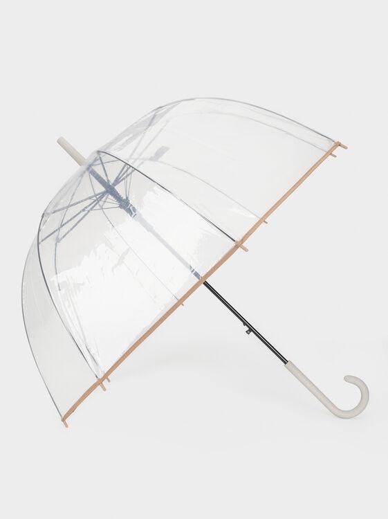 Large Transparent Umbrella, Grey, hi-res
