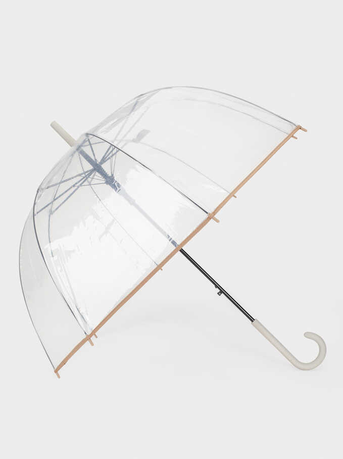 Large Transparent Umbrella, Grey, hi-res