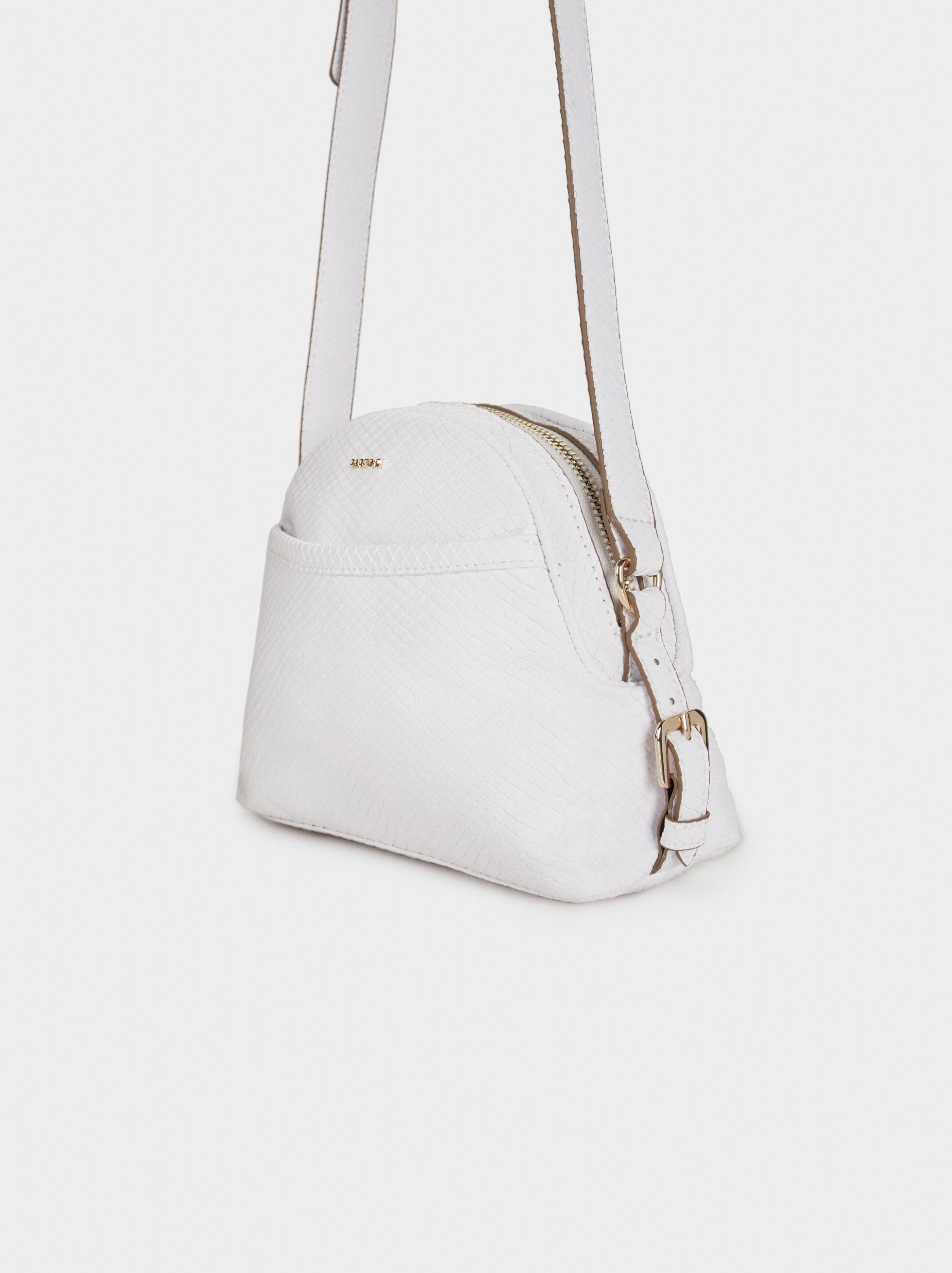 Embossed Faux Snakeskin Crossbody Bag, White, hi-res