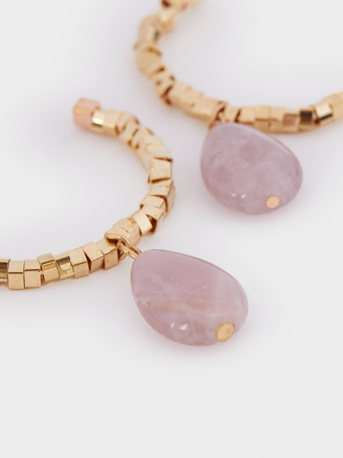 Large Gold Hoop Earrings With Stone, Pink, hi-res