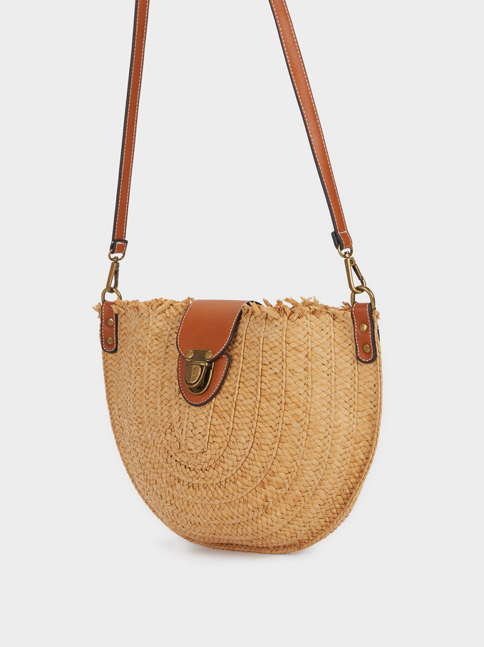 Raffia Crossbody Bag With Detachable Handle, Beige, hi-res