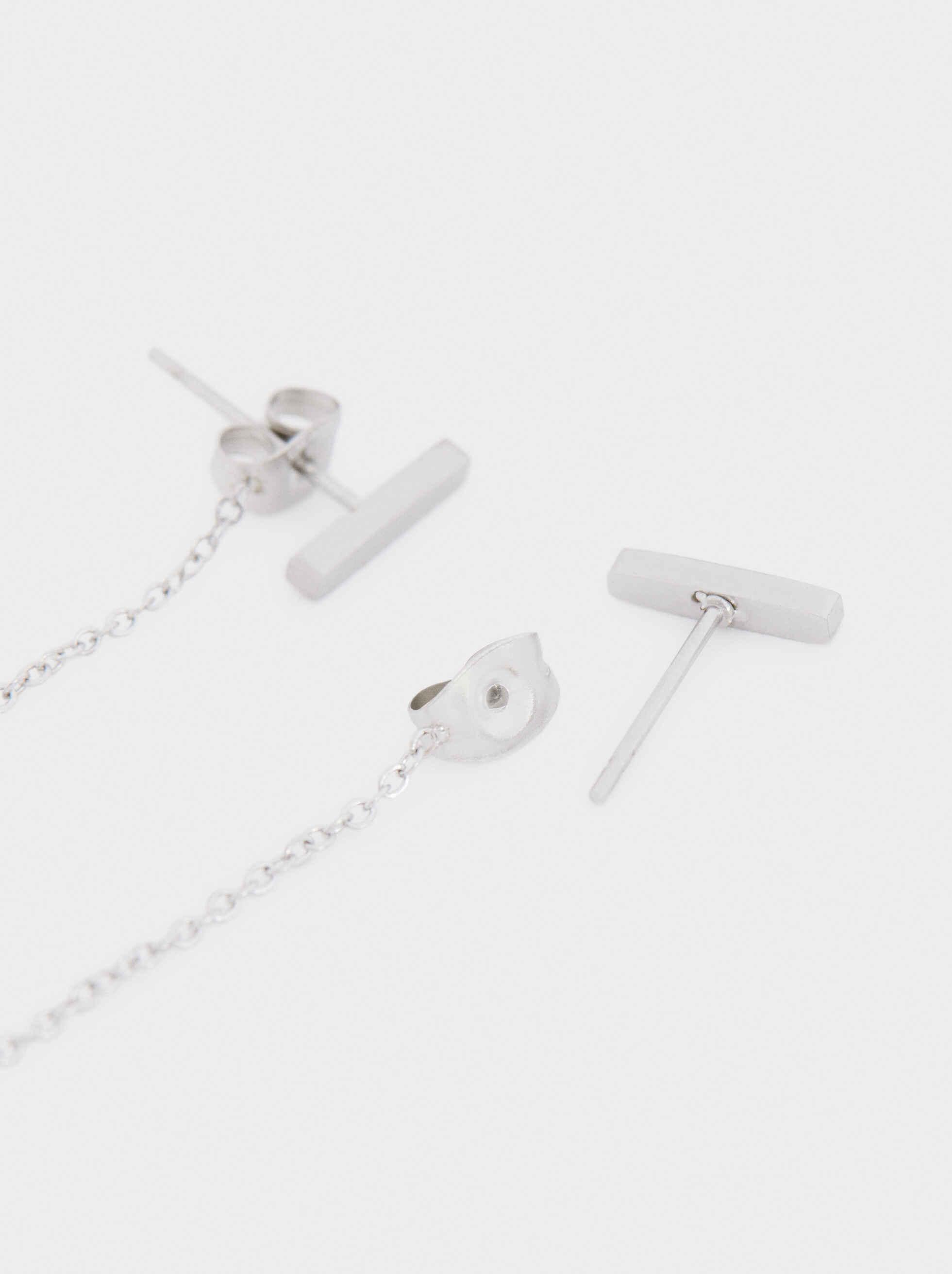 Steel Long Earrings, Silver, hi-res