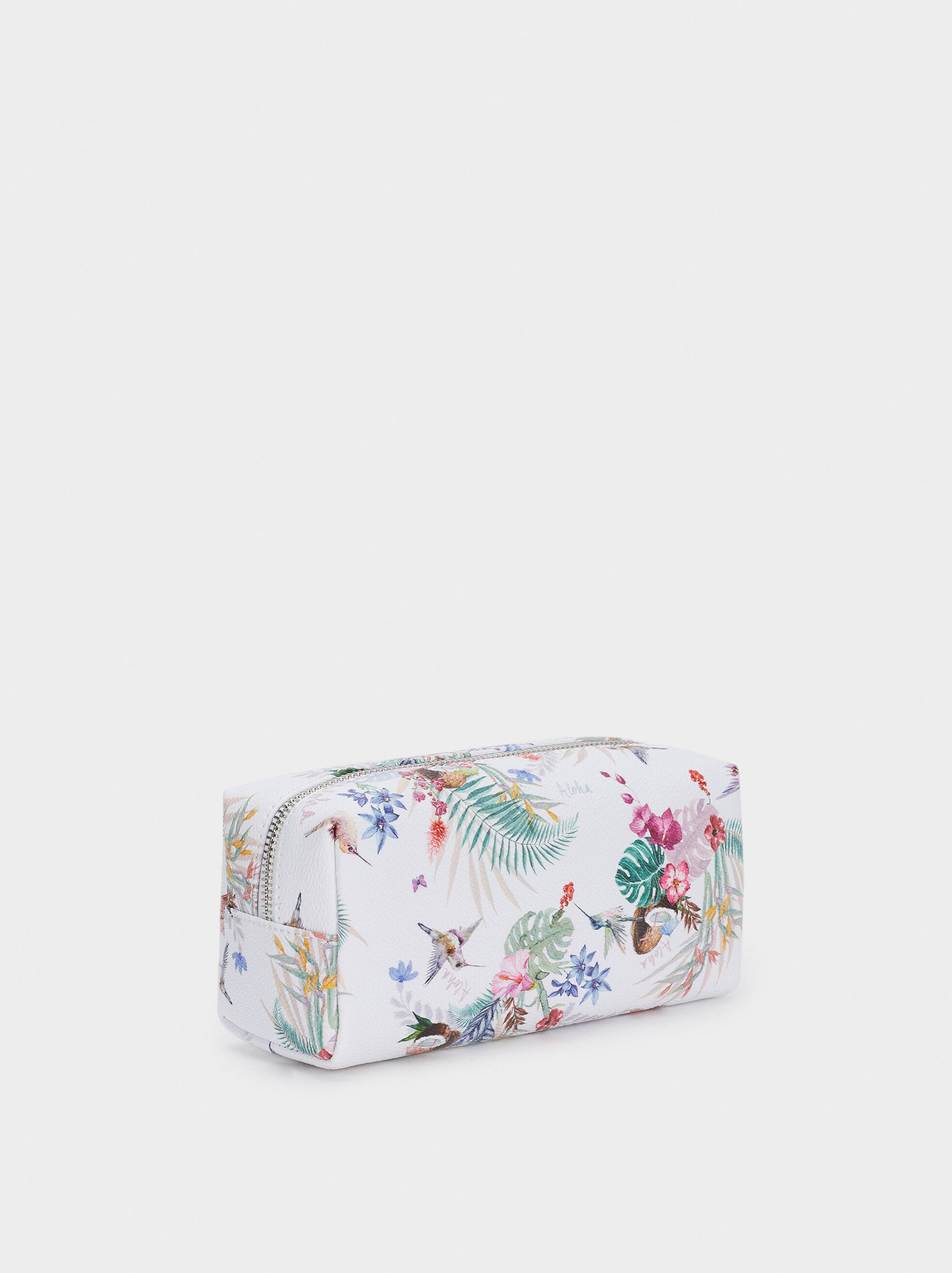 Zipped Pencil Case With Floral Print, Ecru, hi-res