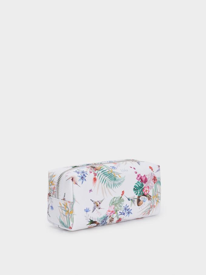 Zipped Pencil Case With Floral Print, Ecru, hi-res